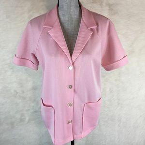 Vintage 60s 70s Button Down Shirt Striped M L XL